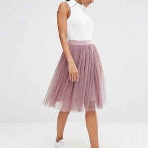 Boohoo Mauve Tiered Tulle Skirt